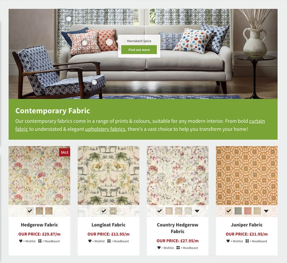 just fabrics ecommerce website