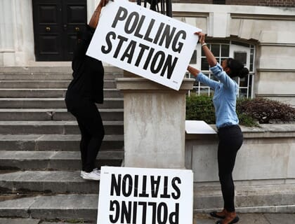 Polling Station with Signs